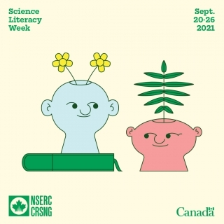 Science Literacy week logo- 2 faces with plants