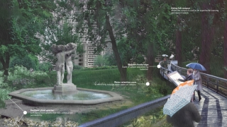 Design for a water retention zone around the Three Bares fountain at McGill