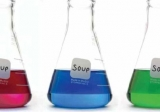 Soup and science graphic: chemistry flasks.