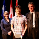 Jordon Townsend (centre) with Dr. Suzanne Fortier and Dean Martin Grant.
