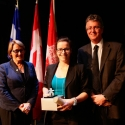 Caroline Aubry-Wake (centre) with Dr. Suzanne Fortier and Dean Martin Grant.