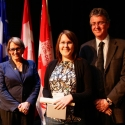 Katia Lamer (centre) with Dr. Suzanne Fortier and Dean Martin Grant.