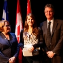 Isabelle Desloges (centre) with Dr. Suzanne Fortier and Dean Martin Grant.