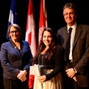 Danielle Salvatore (centre) with Dr. Suzanne Fortier and Dean Martin Grant.