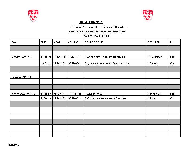 Final Exam Schedule - Winter Semester   School of Communication