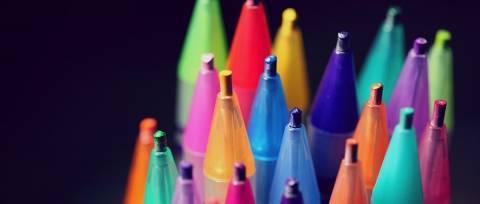 A collection of marker pens of many different colours
