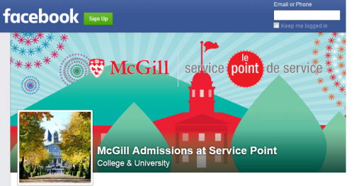 McGill Admissions at Service Point Facebook Page