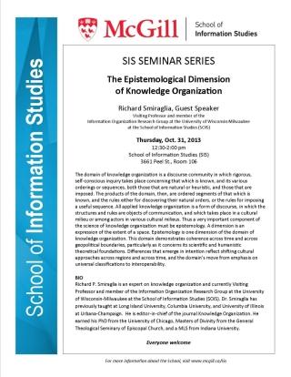 """Seminar: """"The Epistemological Dimension of Knowledge Organization."""" R. Smiraglia"""