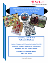 SIS MLIS Museology Student Project Exhibit Poster