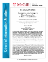 "SIS Seminar: ""Convergence and challenges in information studies"". G. Eustache"
