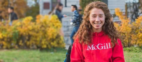 Student wearing a McGill sweatshirt