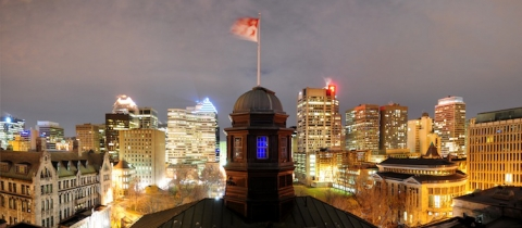 Montreal skyline with the arts building at night
