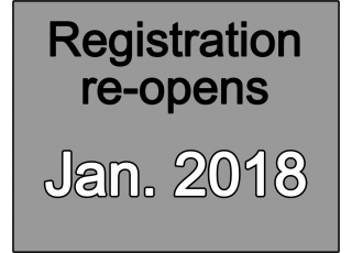 Registration re-opens January 2018
