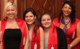 four women in red scarves