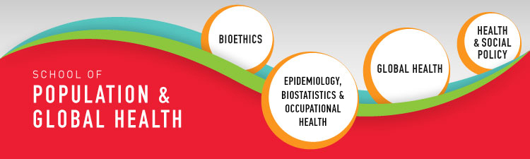 Wave graphic showing the four bases of the SPGH: Bioethics; Epidemiology, Biostatistics & Occupational Health; Global Health; and Health and Social Policy