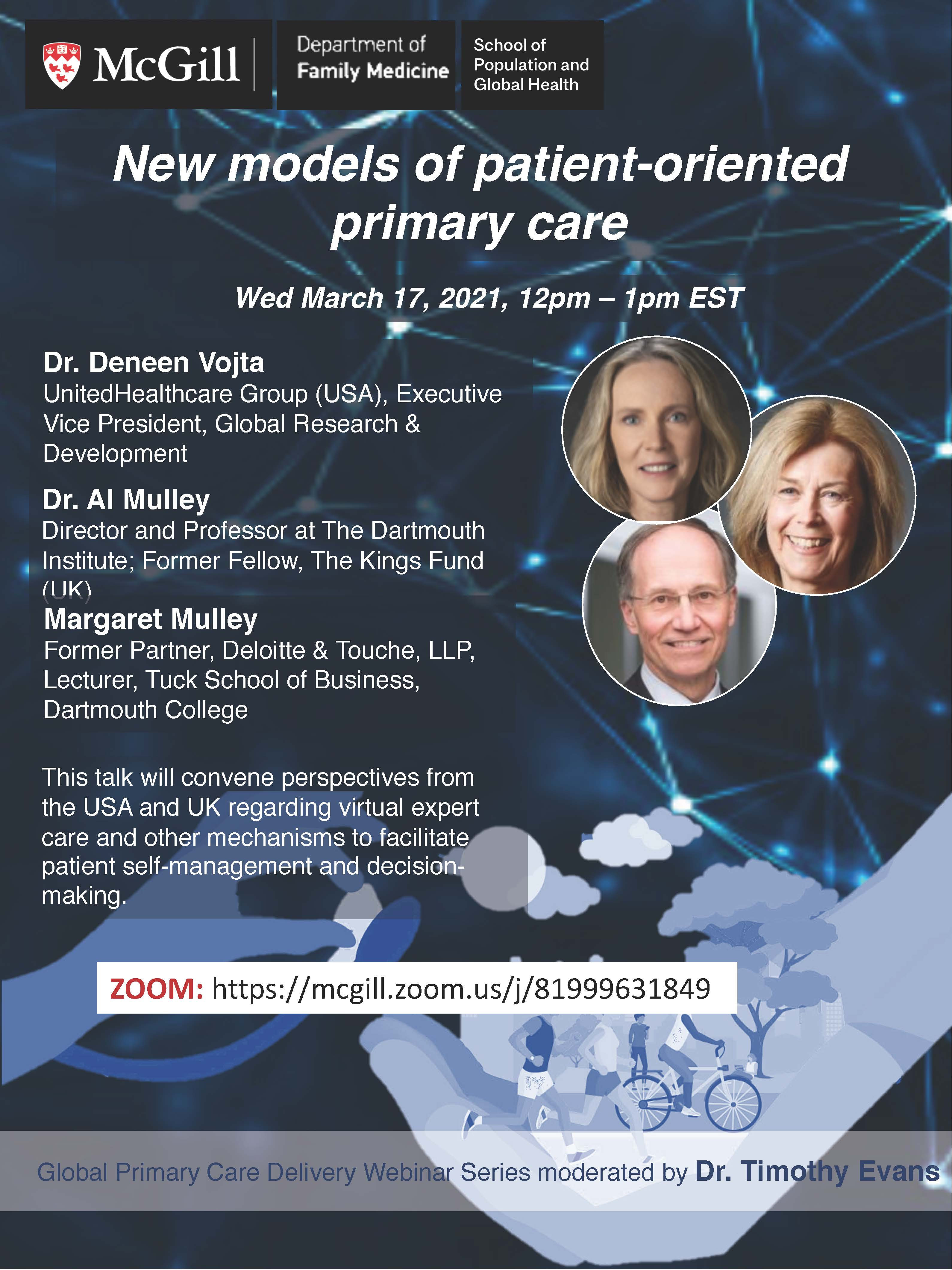 Flyer for 3rd Global Primary Care Webinar featuring photos of the speakers