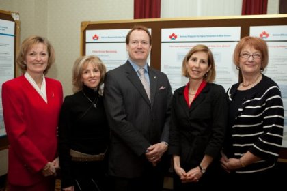 From left to right Patricia Clark,Active Living Coalition for Older Adults, Nicol Korner-Bitensky, Associate Professory, School of Physical and Occupational Therapy, McGill University, Colin Carrie, Parliamentary Secretary to the Minister of Health,  Claudia von Zweck, Candadian Assocation of Occupational Therapists, Executive Director, and Liz Taylor, CAOT President