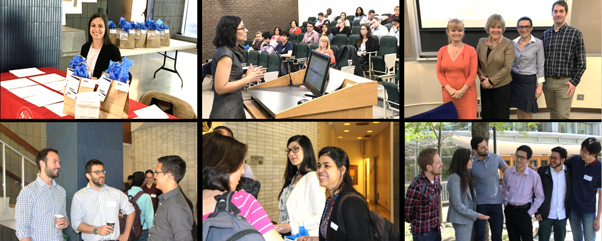 Collage of 6 photos , graduate students conversing at cocktail post event, one speaker talking to a group in auditorium, one person sitting at welcome desk.