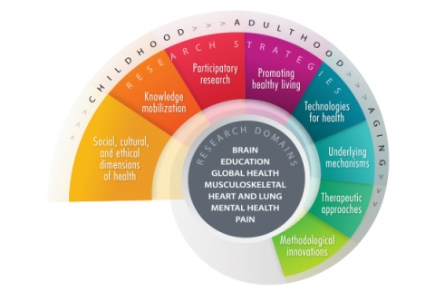 A helical image with text in the middle hub, in the next outer layer and then a final thin layer on the outer perimeter. The central hub contains a list of seven domains of brain, education, global health, musculoskeletal, heart and lung, mental health, and pain. On the next layer, which appears to spiral and emanate from the hub, the eight research strategies are shown in separate sections, these are methodological innovations, therapeutic approaches, underlying mechanisms, technologies for health, promoti
