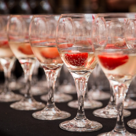 Strawberries in Champagne flukes with champagne
