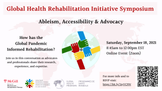 Poster for GHRI symposium with four connecting hands, same four colors as in GHRI logo