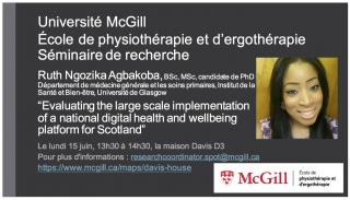 """Ruth Ngozika Agbakoba: """"Evaluating the large scale implementation of a national digital health and wellbeing platform for Scotland"""""""