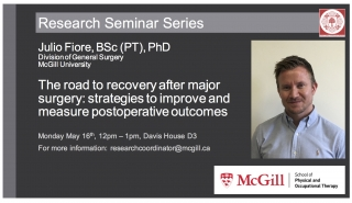 """Julio Fiore seminar: """"The road to recovery after major surgery: strategies to improve and measure postoperative outcomes"""""""