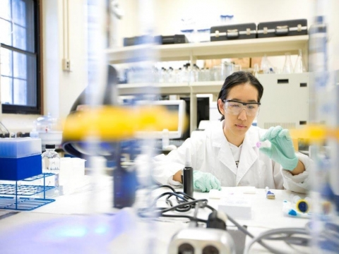 female student working in a lab