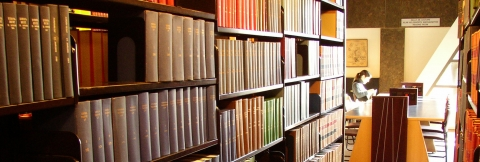 Row of books in the library