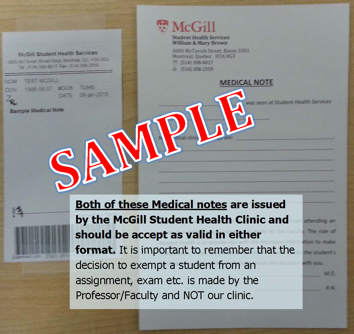 Medical Notes Records Student Health Service Mcgill University