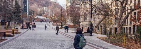 Students walking down Rue McTavish