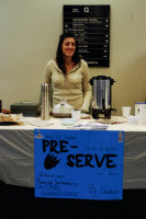 The student group, Pre Serve, uses biodegradable cutlery, and sells organic products in their fundraising bake sales.
