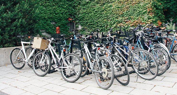 Bikes parked in front of redpath museum