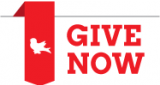 "red banner graphic with white mcgill martlet next to ""give now"" in bold red font"