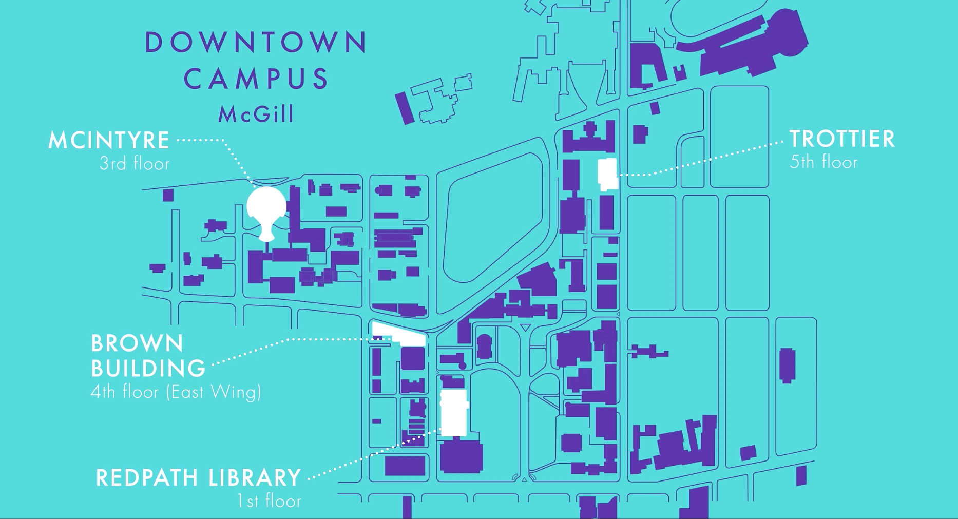 Cyan-coloured map showing locations of spin bike gardens on mcgill downtown campus