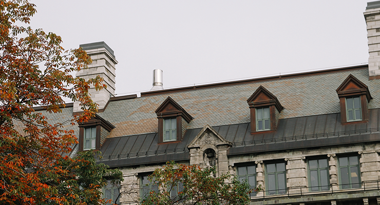 Roof of Macdonald engineering building in fall