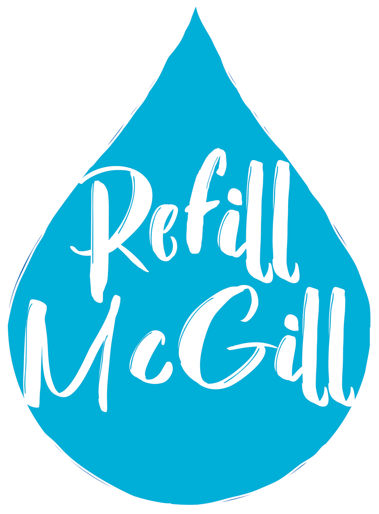 Graphic of a water drop with the logo 'Refill McGill'