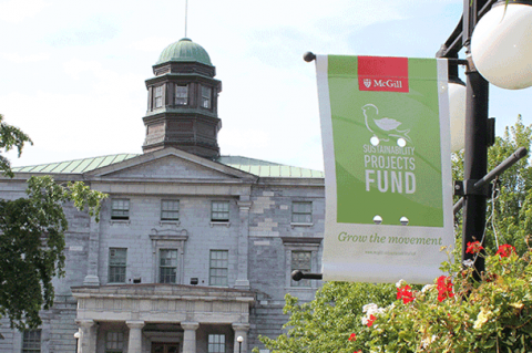 Sustainability Projects fund banner on lower campus, facing arts building