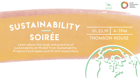 Sustainability soirée graphic. 'Learn about the study and practice of sustainability at McGill from Sustainability Projects Fund teams and McGill researchers. January 23rd, 4 to 7 pm in Thomson House.