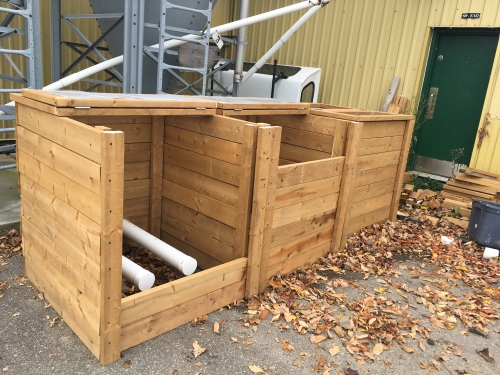 3 Wooden compost crates