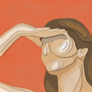 Woman covering her face from sun