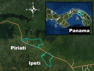 Map of eastern Panama, displaying the locations of the Piriati and Ipeti communities