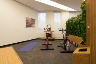 Rear view of spin bikes in McIntyre