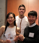 Three of the students on the SPF Referendum Yes Committee with their Catalyst Award trophy
