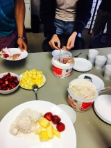 Ice cream and toppings served on reusable dishware