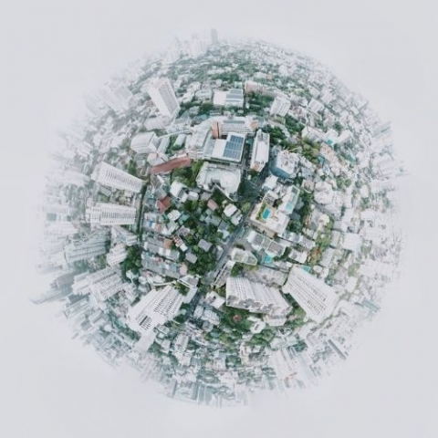 zoomed in round view of city