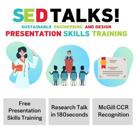 SEDTALK sustainble engineering and deisgn presentation skills training, Free Presentation Skills Training, Research Talk in 180seconds, McGill CCR Recognition cartoon of teach, of a cartoon man speaking in front of an audience and a certificate