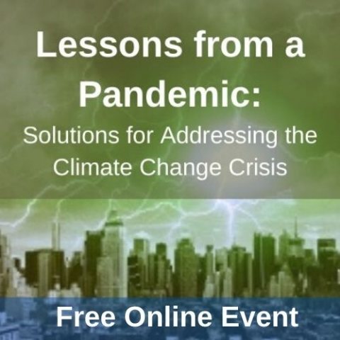 """a city skyline with a green overlay and lightening and the words """"lessons from a pandemic: Solutions for Addressing the Climate Change Crisis- free online event"""""""