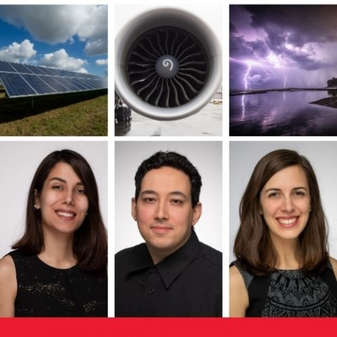 SEDTALKS logo with sustainability, engineering and design and a view of solar panel, a aircraft enginer, an a storm with lightening over the ocean. With profiles of pictures of Elena Corella Puertas, Bruno Castilho and Rana Yekani