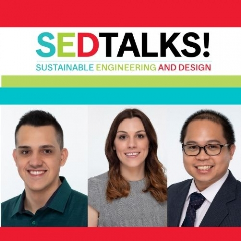 SEDTALKS logo with sustainability, engineering and design and a view of solar panel, a aircraft enginer, an a storm with lightening over the ocean. With profiles of pictures Breno Mumic Sequeira, Claire Gibson, and Christopher Ramos